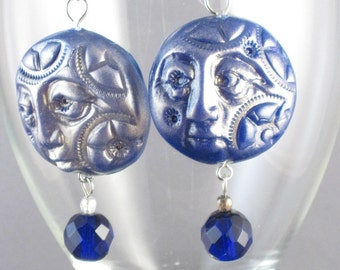 Gearface Earrings in Blue STEAMPUNK SALE