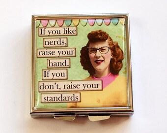 Funny pill case, Funny pill box, Square Pill case, Square Pill box, Pill Case, Pill Box, 4 Sections, humor, Nerds, Made in Canada (4766)