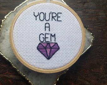 You're a Gem ultraviolet diamond hoop / color of the year embroidery / diamond cross stitch