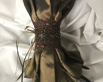Pleated Steampunk Wrist Cuff Gauntlet-Antique Gold Pintuck Taffeta-embellished with beaded lace-trim-ribbons-fastens with one hand-gift idea