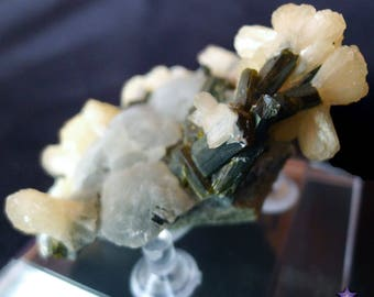 PREHNITE with EPIDOTE And STILBITE - from Malawi, Africa - Comes with Stand