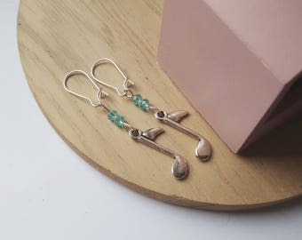 Music Notes earrings and blue faceted beads
