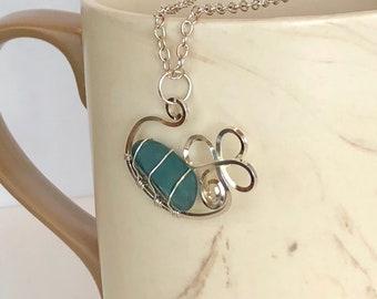 Silver Flower Pendant/Green Rock/Wire Jewelry/Wrapped Basalt Rock
