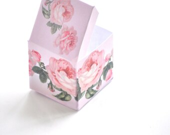 rose box - instant download - printable gift box - vintage rose favor box - commercial uses allowed - shabby chic - pink roses