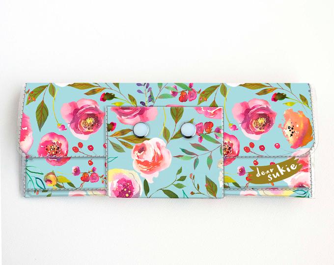 Vinyl Long Wallet - Pastel Floral Blue / flowers, vegan, pretty, large wallet, clutch, card case, vinyl wallet, blue, roses, peonies, peony