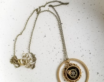 Steampunk Necklace, Clockwork Pendant, Watch Parts, Large Pendant, Gold Pendant Necklace, Steampunk Jewelry, Gears Necklace, Cosplay Gift