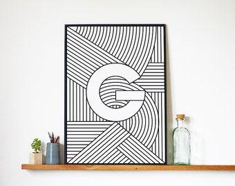 "Digital Download   Letter Print ""G""   Initial Poster   Letter Print   Alphabet Print   Monogram Initial Print   Wall Art   Quote Art Print"