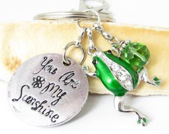 Frog Keychain, Frog Key Chain, Love Keychain, Frog Gift, Green Frog Keychain, Car Accessories, Backpack Charm