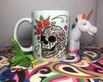 Sugar Skulls Mug with Flowers