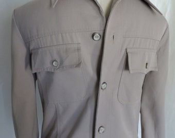 Vintage 80s mens shirt jac, shirt jacket, western, hunter, khaki,  leisure, casual