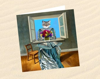 Cat, cat greeting card, cat art: waiting for spring