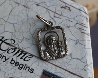 The Most Holy Theotokos of Kazan 1990s-2000s Sterling silver Very beautiful medallion Silver gift Religious pendant #14