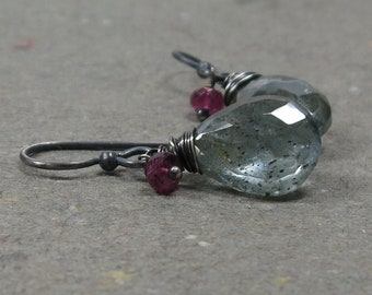 Moss Aquamarine Earrings Pink Tourmaline March Birthstone Oxidized Sterling Silver Gift for Mom