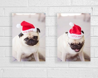 30% Off Christmas Pug Photo Set,  Cute Photo Gifts, Pug Wall Art, Apartment Decor, Santa Dog Hat, Red Decor, Gift For Dog Lovers