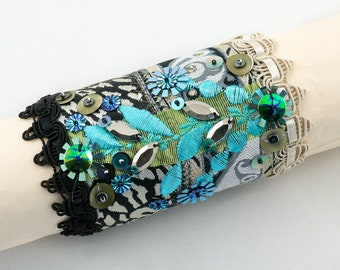 Cuff bracelet-ribbon-sequins-Fabric cuff beaded bracelet-Black-beige-turquoise