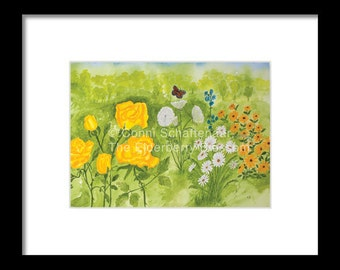 Mother's Day Gift Instant Print Download 5x7 Print from Watercolor Landscape Flower Garden  for matting and framing