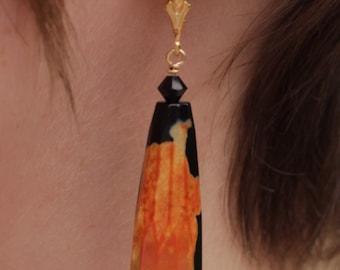 Black Orange Agate Earrings - Agate Dangle Earrings - Black Dangle Earrings - Black Gold Earrings - Orange Black Earrings - Agate Earrings