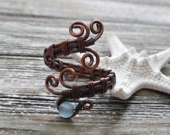Aquamarine Wire Wrapped Ring, Aquamarine Jewelry, Wire Wrapped Jewelry, Crystal Gemstone Ring, Bohemian Jewelry, Statement Ring, Copper Ring