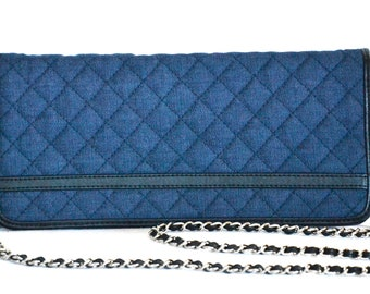 Denim Quilted Cross Body Bag with Chain strap