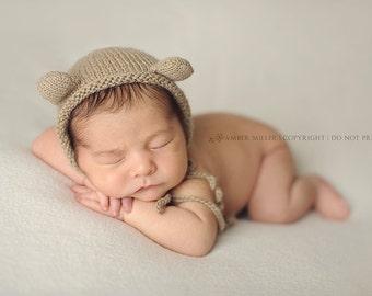Latte Newborn Bear Bonnet