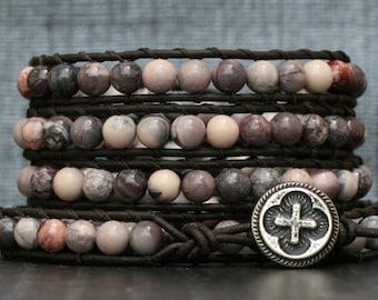 bohemian jewelry - jasper wrap bracelet - porcelain jasper on black brown leather - terra rosa - pink, cream, lavender, grey, gray