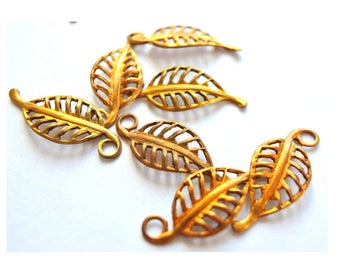 6 Vintage metal beads leaf shape dangling beads 24mm X10mm