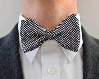 Men's Bow Tie in Black and White Gingham- freestyle wedding groomsmen custom bowtie neck self tie check plaid neutral