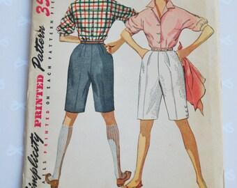 Simplicity 4746 Rockabilly 1950s Shorts and Blouse Pattern Bermuda Walking Shorts, Wing Collar Retro Shorts Vintage Sewing Pattern