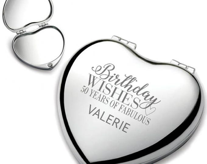Personalised engraved 50TH BIRTHDAY heart shaped compact mirror birthday wishes gift idea, chrome plated - HEM-B50