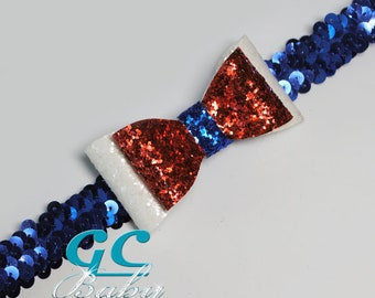 Sequin Stretch Headband with Glitter Faux Leather Bow for Baby, Toddler or Little Girl in Red White Blue