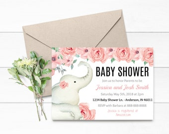 Baby Shower Invitation- Elephant pink and Black Baby Shower- Pink and Gold Baby Shower- Invitation Only- Flower Baby Shower- A001