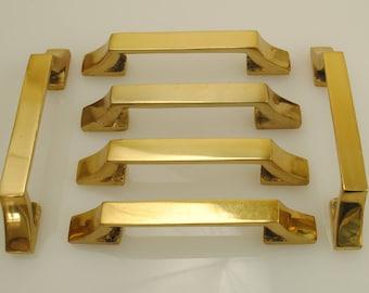 Solid Brass Door or Drawer Handles 6 Pieces