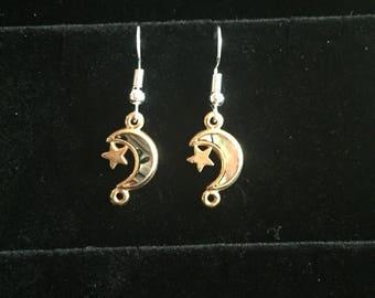 Gold moon charm earrings