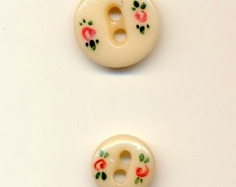 Antique China Buttons -  Decorative Finish of Painted Roses - 2 sizes.