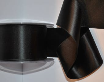 satin ribbon double sided black 70 mm / 7 cm, sold by the yard