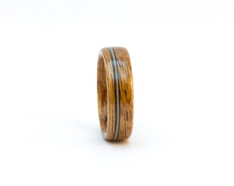 Size 7, Wooden Ring, Wood Ring, Mahognay and Guitar String Ring, Wood Wedding Ring, Men's Wooden Ring, Man's Wedding Band Men, Bentwood Ring