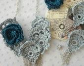 CROCHET PATTERN Snow Queen Rose Necklace - crochet rose,crochet necklace,crochet pattern,crochet earrings, mori necklace, romantic, bohemian