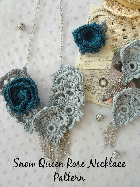 CROCHET PATTERN Snow Queen Rose Necklace crochet