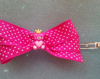 Dark Pink With White Polka Dots Hair Bow