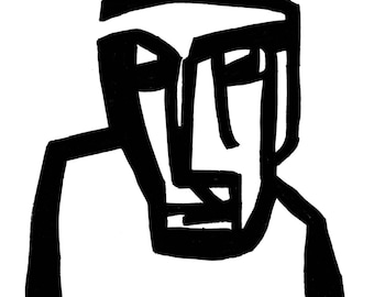 poster, fine art print, abstract, face, black and white, art brut, expressive, 24 x 30 cm
