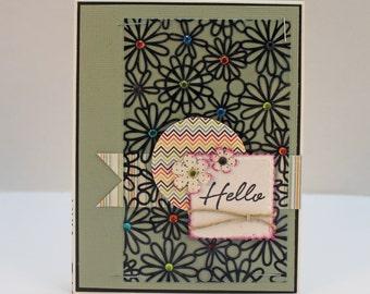 Floral Friendship Card. Handmade Green Best Friend Card-Acetate/Chevron/Gemstone/Flowers/Twine. Custom Card. Greeting Cards