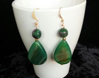 Green Agate Earrings Silver Earrings Gold Earrings