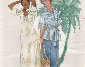 Butterick 4251 JOHN KLOSS 1970er Jahre Kleid, Top, Hose Größe 8