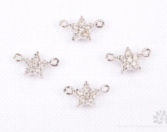 P678-R// Rhodium Plated 5mm Cubic Mini Star Connector, 1 pc