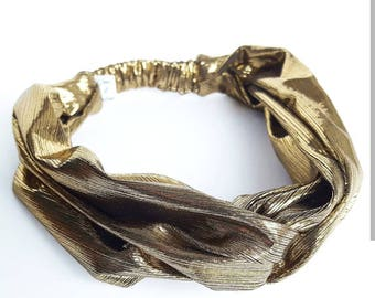 Gold lame women hair band headband