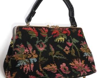 Like New Vintage 1960s Large Black Floral Boho Grandma Chic Needlepoint Carpet Bag Tapestry Handbag/Purse