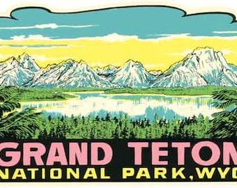 Vintage Style Grand Teton National Park Wyoming Travel Decal sticker