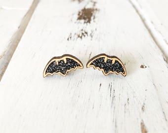 Glitter Bat Earrings - Halloween Earrings - Black Bat Earrings - Halloween Costume - Bat Wings - Bat Earrings - Halloween Jewelry