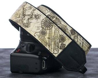Old World Map Camera Strap, dSLR, Pocket, Camera Neck Strap, Canon camera strap, Nikon camera strap, Nautical, Men's, Women's,  198  w