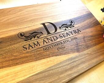 Wedding Gift Couple Cutting Board Engraved monogram Custom Design Personalized Gift Wedding Cutting Board Wood Cutting Boards Anniversary